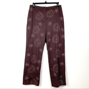 LOFT Brown Flower Embroidered Ankle Pants